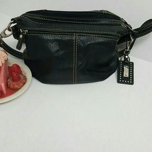 Tignanello purse black classic lining logo